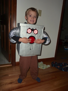 My son wearing the robot costume
